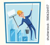 profesional worker cleaning...   Shutterstock .eps vector #580626457