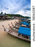 series of long tail boats at... | Shutterstock . vector #58063387