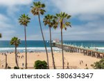 manhattan beach and pier at day ... | Shutterstock . vector #580634347