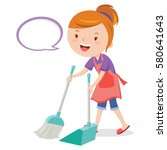 young woman sweeping floor with ... | Shutterstock .eps vector #580641643