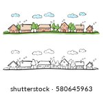 cartoon hand drawing of small... | Shutterstock .eps vector #580645963