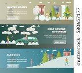 vector set of winter people... | Shutterstock .eps vector #580657177