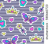 little princess seamless... | Shutterstock .eps vector #580660723