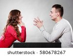happy couple talking and... | Shutterstock . vector #580678267