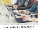hands of group of... | Shutterstock . vector #580680013