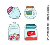 hand drawn sketch collection of ... | Shutterstock .eps vector #580688083