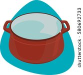 red dutch oven. enameled kettle ... | Shutterstock .eps vector #580692733