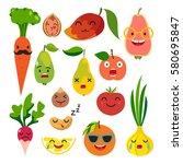 emoticons food vector set. cute ... | Shutterstock .eps vector #580695847