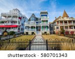 Small photo of Houses along Beach Avenue, in Cape May, New Jersey.