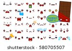 set of cute kawaii emoticon... | Shutterstock .eps vector #580705507
