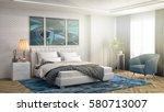 bedroom interior. 3d... | Shutterstock . vector #580713007