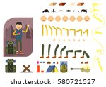 man tourist constructor. hiking ... | Shutterstock .eps vector #580721527