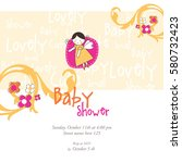 baby shower invitation template.... | Shutterstock .eps vector #580732423