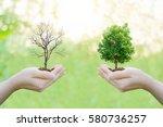 ecology concept human hands... | Shutterstock . vector #580736257