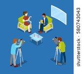 isometric mass media concept... | Shutterstock .eps vector #580743043
