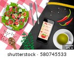 healthy eating. the dish on the ... | Shutterstock .eps vector #580745533