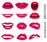 woman lips expression vector... | Shutterstock .eps vector #580755403