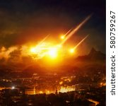 Small photo of Dramatic apocalyptic background - judgment day, end of world, asteroid impact destroying city