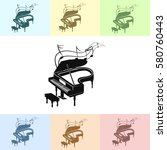 grand piano with music notes... | Shutterstock .eps vector #580760443