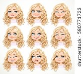 beautiful cartoon blonde girl... | Shutterstock .eps vector #580771723