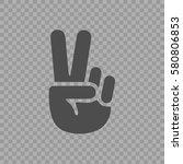 victory symbol vector icon eps... | Shutterstock .eps vector #580806853