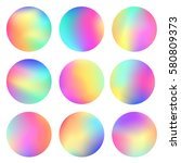holographic round frames set.... | Shutterstock .eps vector #580809373