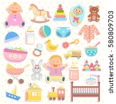 cute baby icons stickers... | Shutterstock .eps vector #580809703