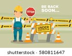 under construction concept with ... | Shutterstock .eps vector #580811647