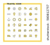 travel and transportation flat... | Shutterstock .eps vector #580812757