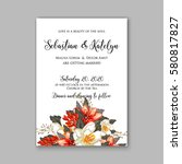 romantic wedding invitation... | Shutterstock .eps vector #580817827