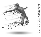 geometric jumper or runner | Shutterstock .eps vector #580842427