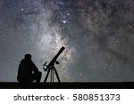 man with astronomy  telescope... | Shutterstock . vector #580851373