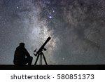 Man Astronomy Telescope Looking Stars - Fine Art prints