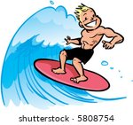 vector young man surfing a big... | Shutterstock .eps vector #5808754