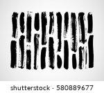 Set of Hand drawn black brush ink grunge strokes
