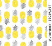 fresh pineapples vector repeat... | Shutterstock .eps vector #580891957