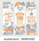 vintage mexican food vertical... | Shutterstock .eps vector #580893487