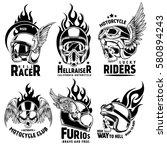 fiery motorcycle skull helmet... | Shutterstock .eps vector #580894243