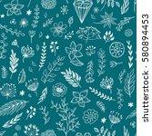 seamless vector floral pattern. ... | Shutterstock .eps vector #580894453