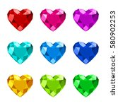 set of diamond heart shape with ... | Shutterstock .eps vector #580902253