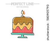 birthday cake web icon | Shutterstock .eps vector #580905793