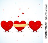 three cute hearts  symbol of...   Shutterstock .eps vector #580919863