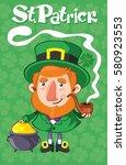 cartoon st patrick day poster... | Shutterstock .eps vector #580923553