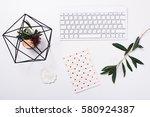 white feminine tabletop flatlay | Shutterstock . vector #580924387