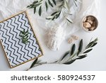 olive branches and ceramic decor | Shutterstock . vector #580924537