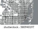 vector city map of miami ... | Shutterstock .eps vector #580940197