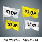 stop   white and yellow vector... | Shutterstock .eps vector #580954213