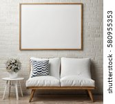 close up poster on white brick... | Shutterstock . vector #580955353
