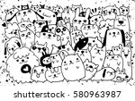 hand drawn doodle funny dogs... | Shutterstock . vector #580963987