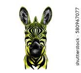 head of zebra  vector color... | Shutterstock .eps vector #580967077